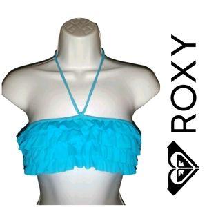Roxy Ruffle Halter Style Bikini Top Blue M